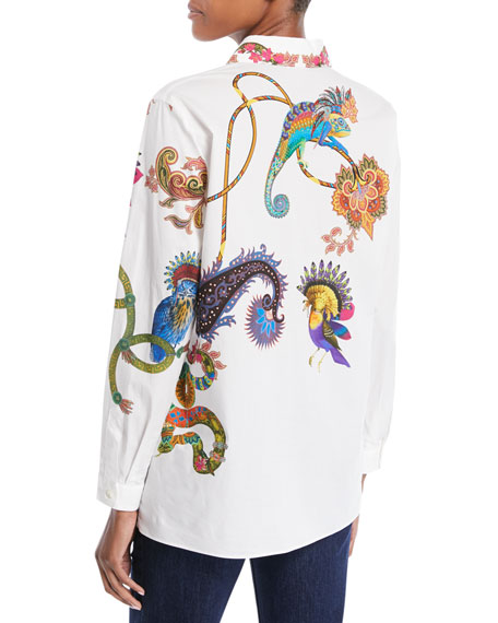 Lemur-Print Button-Front Long-Sleeve Cotton Shirt