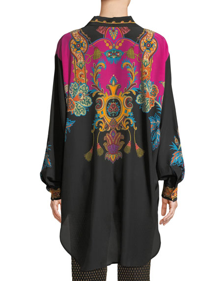 Button-Front Long-Sleeve Damask-Print Silk Blouse