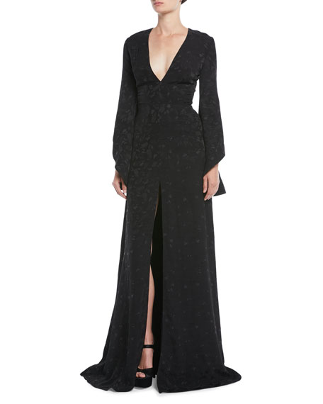 Brandon Maxwell V-Neck Long-Sleeve Pineapple-Jacquard Front-Slit