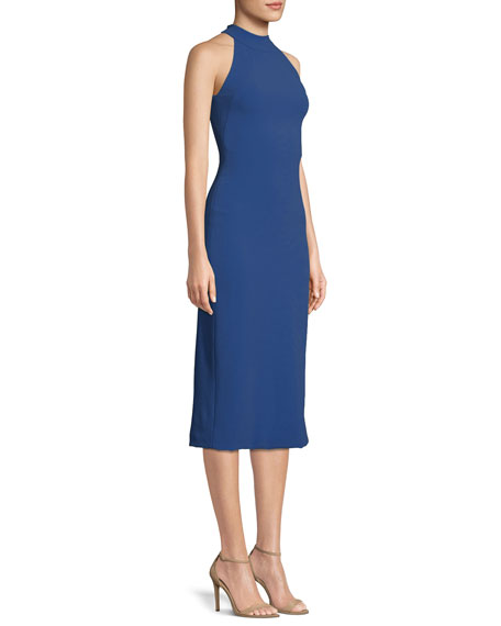 Sleeveless Halter-Neck Stretch-Crepe Mid-Calf Sheath Dress