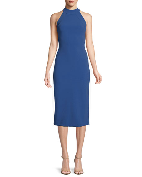 Brandon Maxwell Sleeveless Halter-Neck Stretch-Crepe Mid-Calf