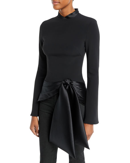 Brandon Maxwell Long-Sleeve Stretch-Crepe Top with Satin Tie
