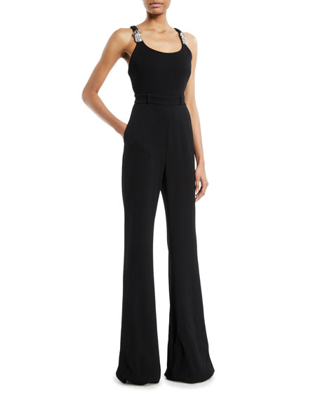 Brandon Maxwell Scoop-Neck Thin-Strap Flared-Leg Jumpsuit w/