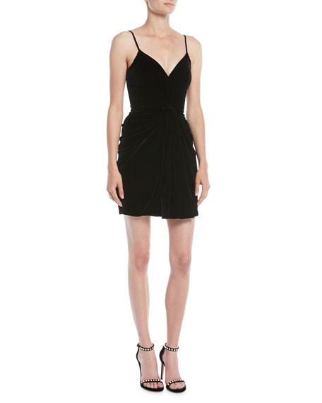 Sleeveless Sweetheart-Neck Thin-Strap Velvet Mini Dress
