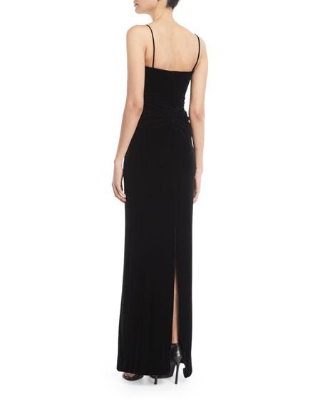 Sweetheart-Neck Sleeveless Thin-Strap Velvet Evening Gown