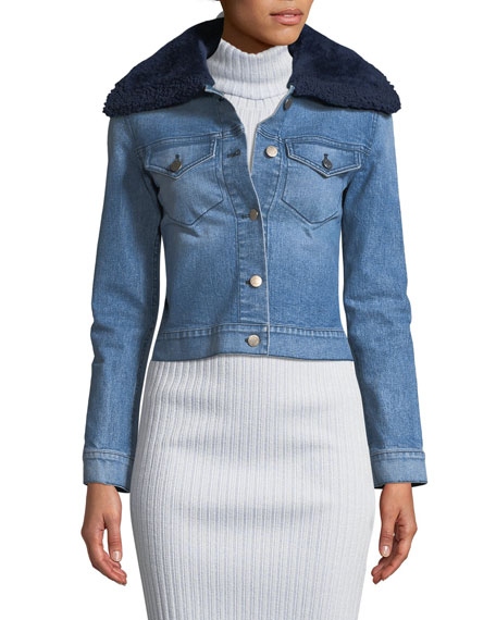 Button-Front Denim Jacket w/ Shearling Fur Collar