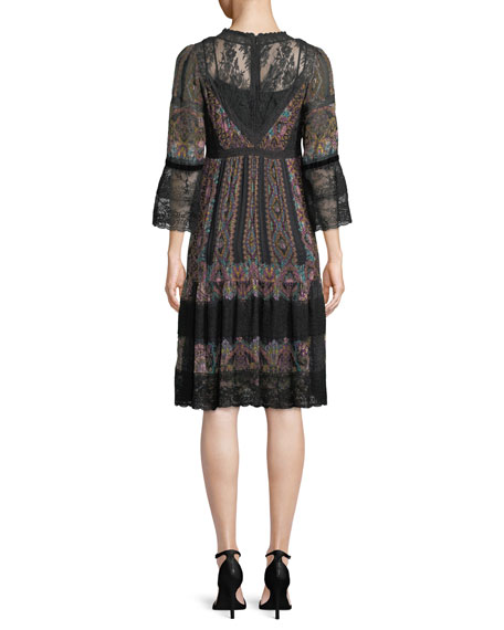 Long-Sleeve Printed Peasant Dress w/ Lace Trim