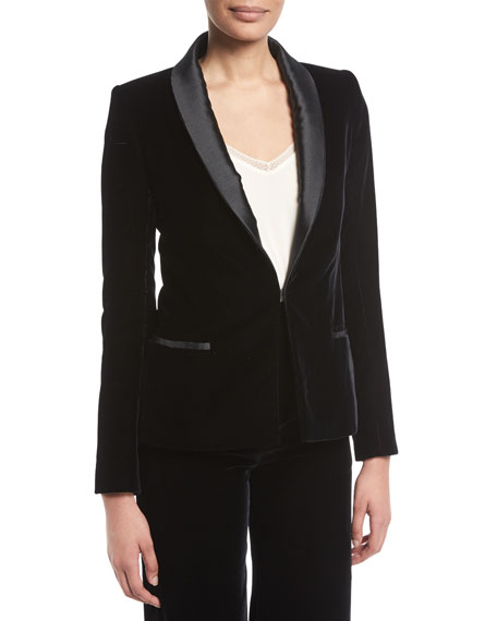 Brandon Maxwell Hook-Front Velvet Smoking Jacket w/ Satin