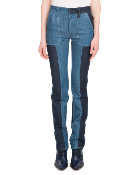 Chloe Zip-Front Patch-Pocket Straight-Leg Bicolor Jeans