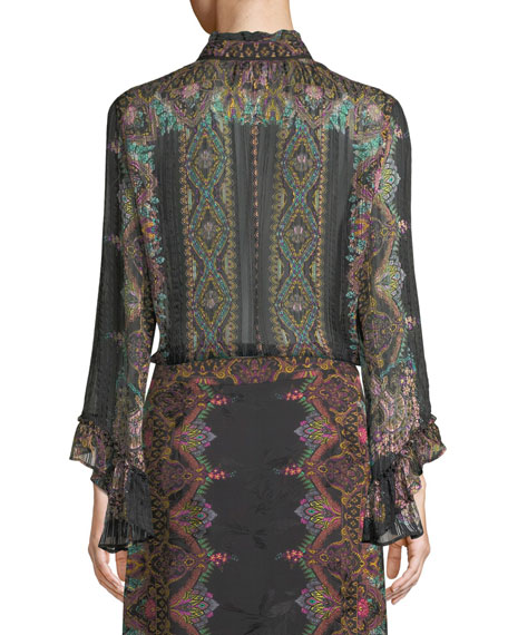 Tie-Neck Wide-Sleeve Damask-Print Silk Blouse