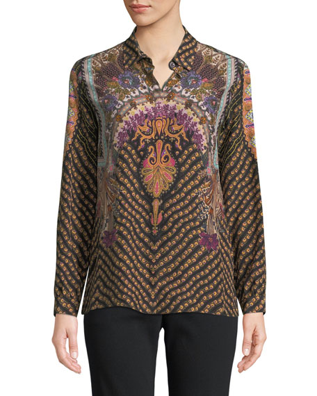 Long-Sleeve Allover Paisley-Print Silk Blouse