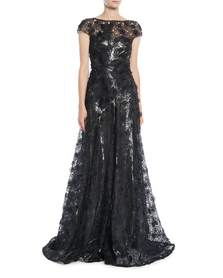 Naeem Khan Cap-Sleeve Fitted-Bodice A-Line Lace Evening Gown