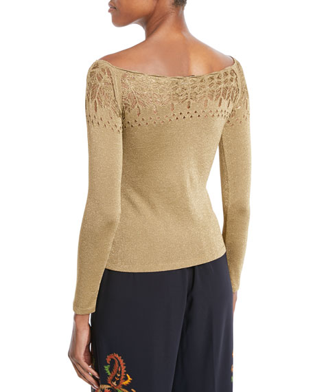 Off-the-Shoulder Long-Sleeve Metallic-Knit Top
