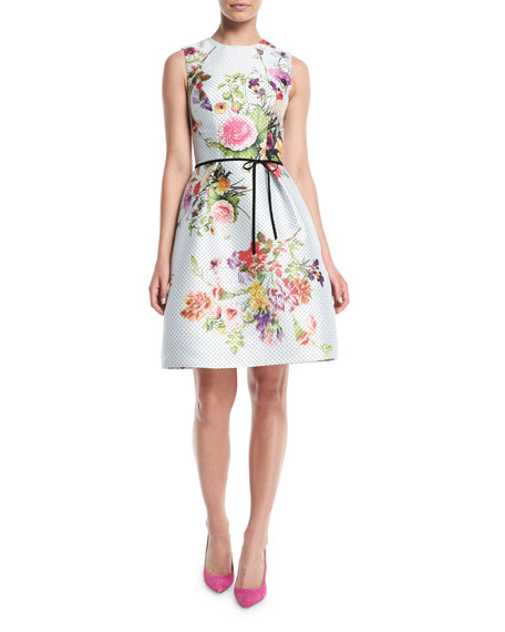 MONIQUE LHUILLIER Sleeveless A-Line Floral-Print Polka-Dot Mikado Cocktail Dress W/ Belt in White Pattern