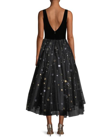 Illusion-Neck Velvet-Bodice Glitter-Dot Tulle Cocktail Dress