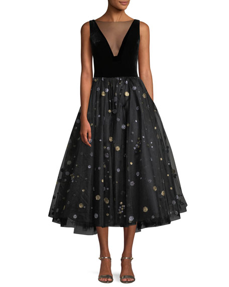 Monique Lhuillier Illusion-Neck Velvet-Bodice Glitter-Dot Tulle