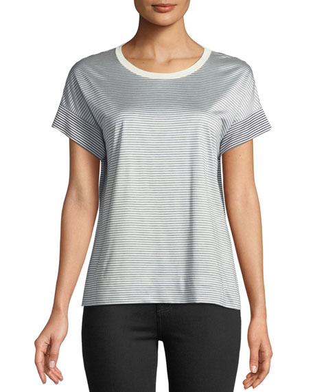 Lanikay Crewneck Short-Sleeve Jersey Bicolor Striped Silk T-Shirt