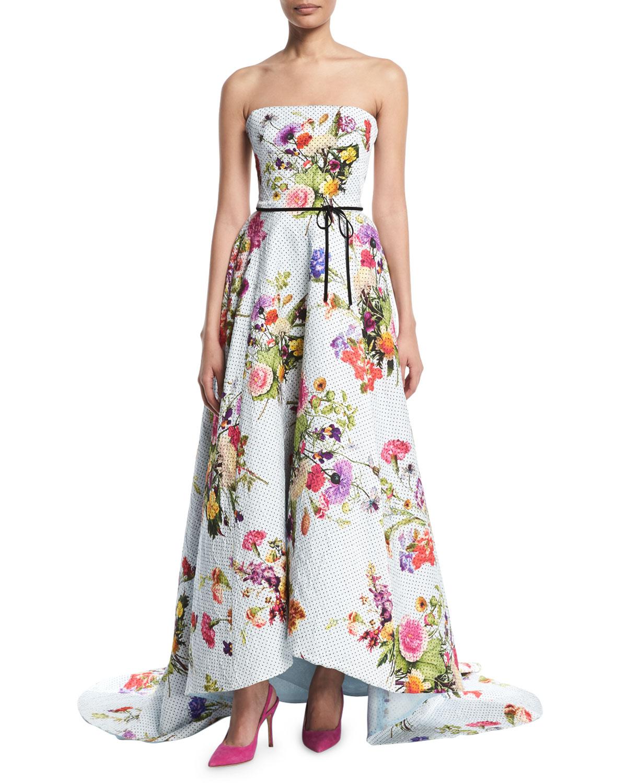Monique Lhuillier Strapless Dotted Floral-Print Jacquard High-Low ...