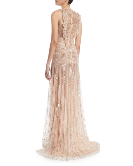 Deep-V Sleeveless Beaded-Striped Evening Gown w/ Ruffle Detail