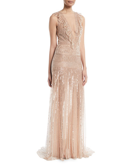 Monique Lhuillier Deep-V Sleeveless Beaded-Striped Evening Gown