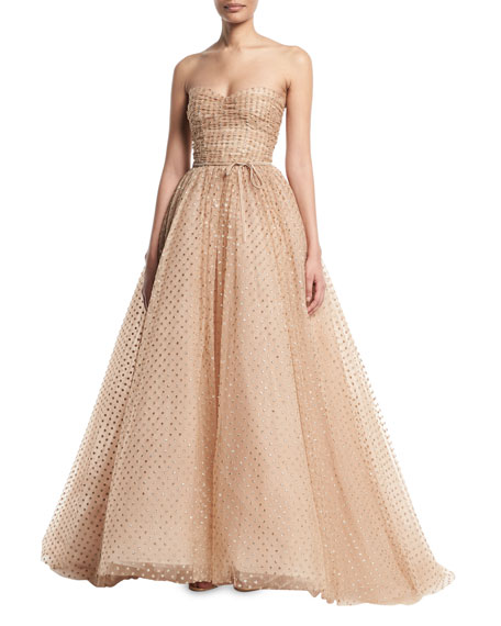 Monique Lhuillier Strapless Glittered-Dot Ruched-Bodice Tulle