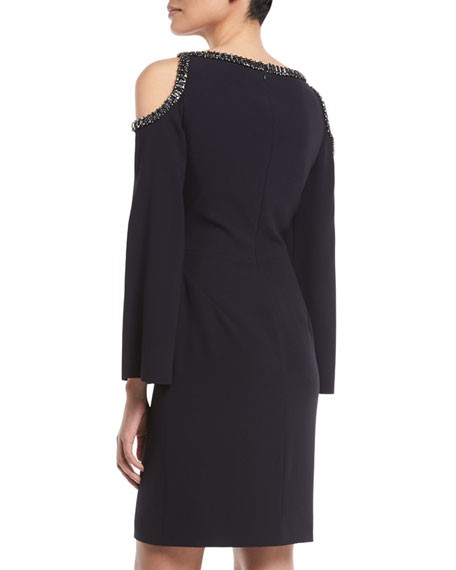 Maya Cold-Shoulder Slit-Sleeve Cocktail Dress w/ Jewel Beading