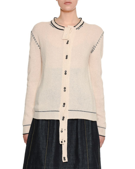 Button-Front Cashmere Cardigan w/ Varsity-Stitch Detail