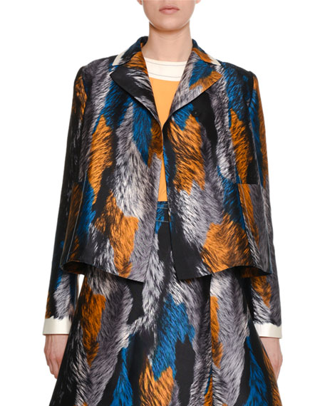Multicolor Fur-Print Woven Jacket