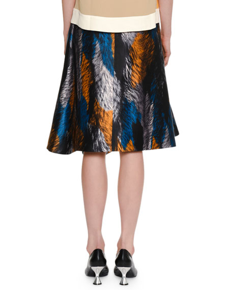 Multicolor Fur-Print Woven Skirt