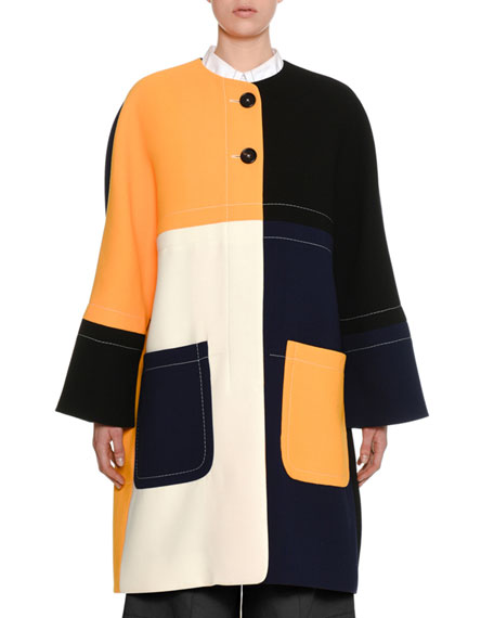 Colorblock Two-Button Double-Face Crepe Coat