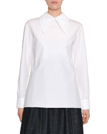 Long-Sleeve Oversized-Collar Zip-Back Cotton Blouse