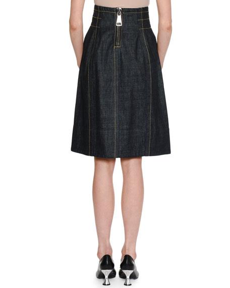 A-Line Back-Zip Denim Knee-Length Skirt w/ Topstitching Detail