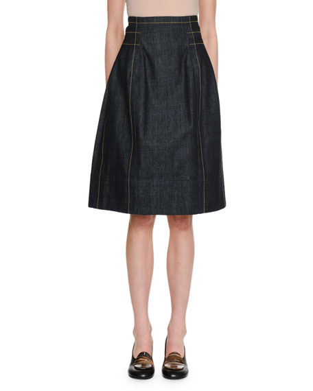 A-Line Back-Zip Denim Knee-Length Skirt w/ Topstitching Detail