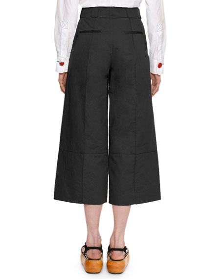 Wide-Leg Cropped Cotton-Linen Pant