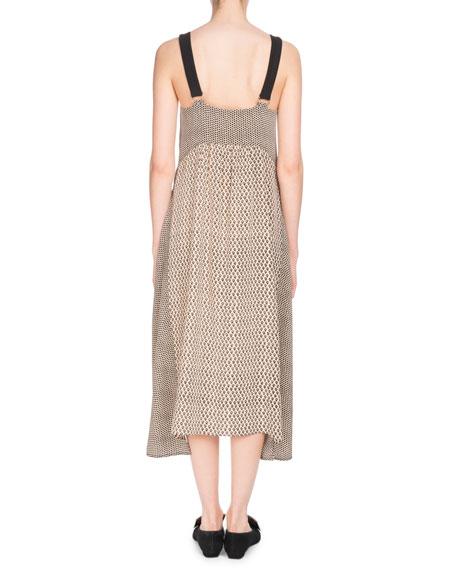 Deep-V Sleeveless Mixed-Print Silk Midi Dress