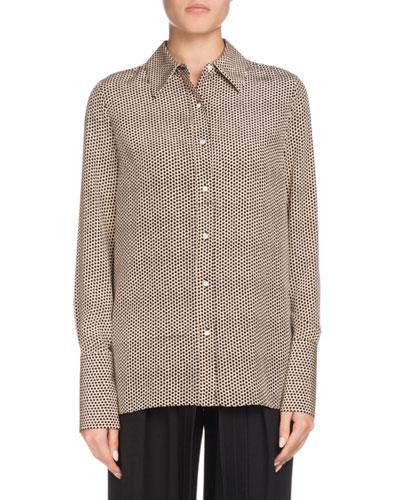 Long-Sleeve Button-Down Dot-Print Silk Shirt
