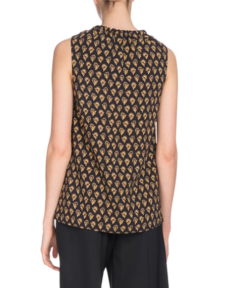 Sleeveless Fan-Print Tunic with Leather Ties