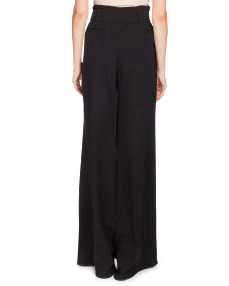 Paperbag-Waist Wide-Leg Crepe Pants w/ Self-Tie Belt
