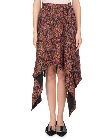 Asymmetric-Hem Floral-Print Skirt
