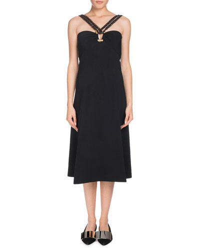 Sleeveless Halter A-Line Crepe Midi Dress