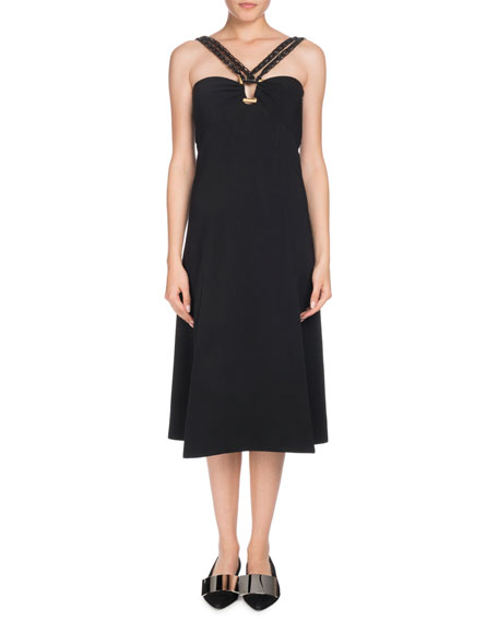 Sleeveless Halter A-Line Crepe Midi Dress