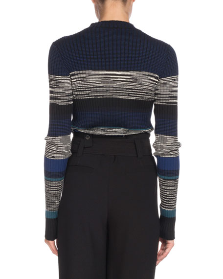 Long-Sleeve Striped Ribbed Sweater