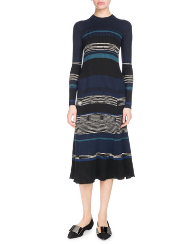 Long-Sleeve Crewneck Striped Ribbed Wool-Blend Dress