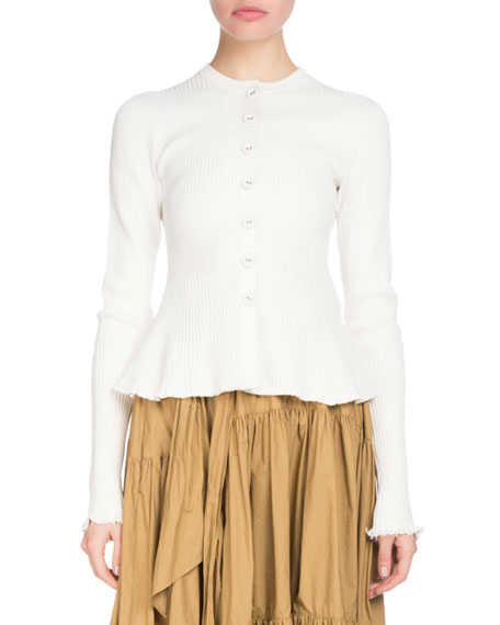 Button-Front Long-Sleeve Ribbed Peplum Cardigan