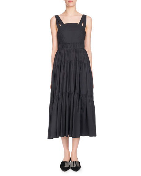 Sleeveless Tiered Poplin Midi Sundress