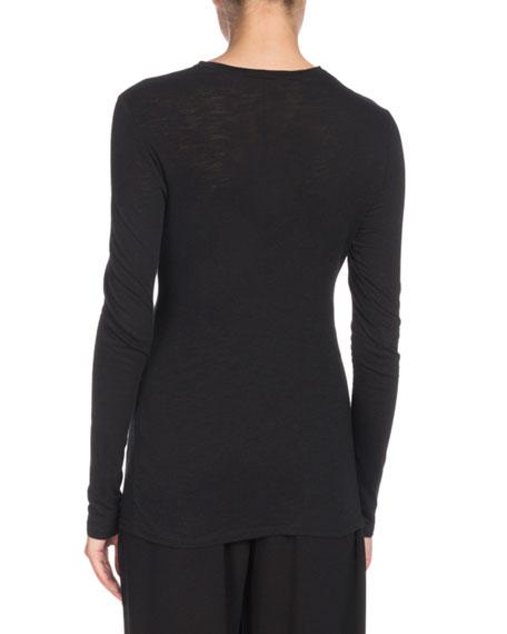 Slit-Front Long-Sleeve Crewneck Cotton T-Shirt
