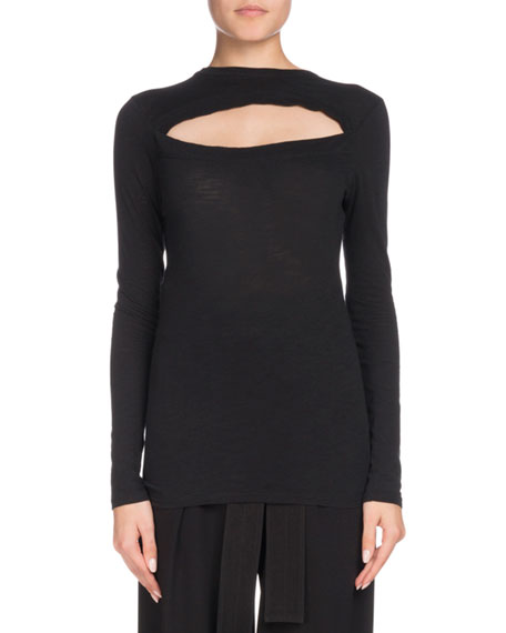 Proenza Schouler Slit-Front Long-Sleeve Crewneck Cotton T-Shirt