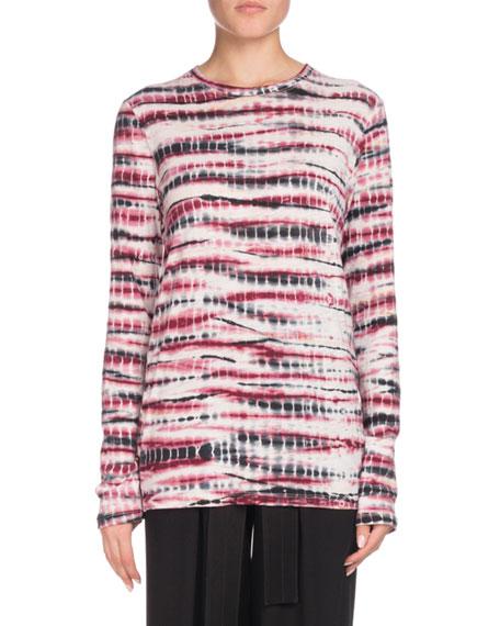 Proenza Schouler Crewneck Long-Sleeve Tie-Dye Cotton T-Shirt and