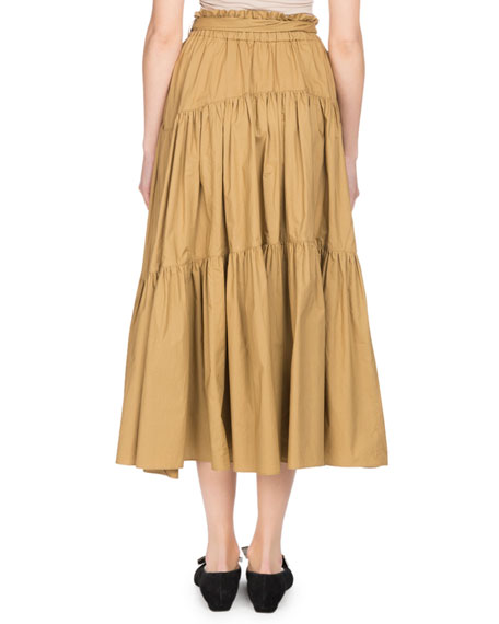 Tiered Poplin A-Line Long Skirt