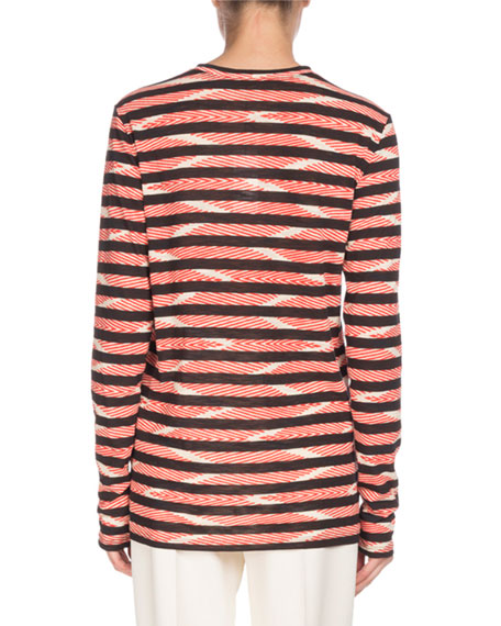 Long-Sleeve Crewneck Chevron & Stripe Cotton T-Shirt